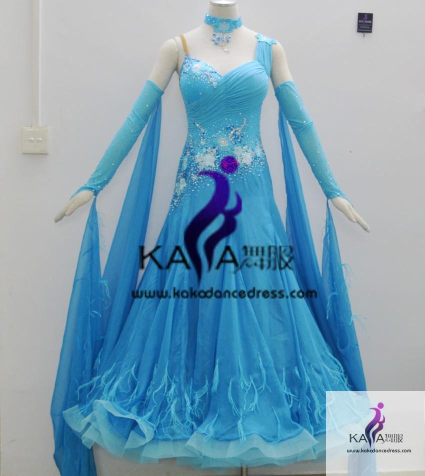 95e3311c8b0e KAKA DANCE B1338,Ostrich feather Ballroom Standard Dance Dress,Waltz Dance  Competition Dress,Women,Girl,Ballroom Dance D